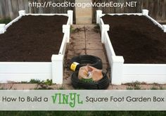 How To Build a Vinyl Square Foot Garden Box   Food Storage Made Easy   Full tutorial found at http://foodstoragemadeeasy.net/2010/05/24/how-to-build-a-vinyl-square-foot-garden-box/