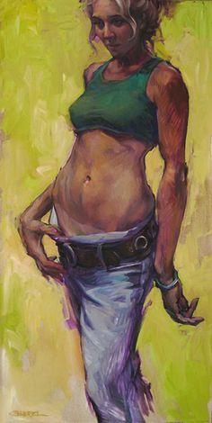 Artist: Gabriel Mark Lipper {contemporary figurative artist blonde female figure tan line standing woman painting} artofgabriel.com