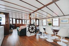 Houseboat barge interior, London. Wow! They are more expensive than I thought.