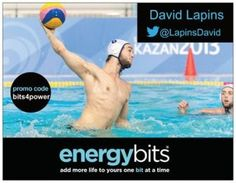 "DAVID LAPINS: David is an elite athlete of the Canadian Water Polo National Team and his position is hole set. He first made his debut on the National Team in 2011. David began playing water polo at the young age of 8 and quickly excelled in the sport. He won a bronze medal at the 2012 Pan Am Games in Montreal. ""ENERGYbits will help to push me through my tough training."""