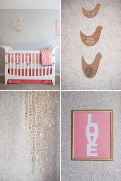 Modern, Feminine Nursery in Coral and Gray - I bought this exact stencil to use in ours!
