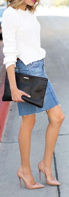 Blue Cutoff Denim Midi Skirt by Hello Fashion
