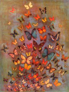 "Saatchi Online Artist Lily Greenwood; Mixed Media, ""Heather Butterflies"" #art"