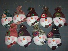 Cute snowman ornaments from fleece I made these one year, they look so cute on primitive tree