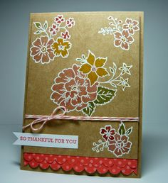 handmade card from Perry Papercrafts ... kraft base ... flower posies embossed in white and colored ... great look on kraft ... like the double row of border scalloped polka dot paper ... Stampin' Up!