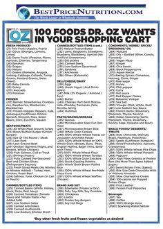 Dr Oz Food & Shopping Cart Recommendations!