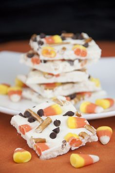 Candy Corn White Chocolate Bark   Wishes and Dishes