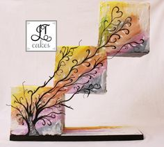 Abstract Gravity defying cake - Cake by JT Cakes