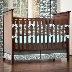 Gray Zoology Crib Bedding | Gray and Blue Animals Baby Boy Crib Bedding | Carousel Designs