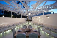 Lighting under the seating area is great....Phos Restaurant