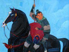 """Mulan The Warrior"" By Jim Salvati - Original Oil on Board, 18 x 24.  #Disney #DisneyFineArt #Mulan #JimSalvati"