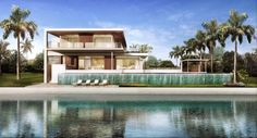 Modern Architecture.  Rendering of an incredible waterfront home by Max Strang Architecture in Coconut Grove, FL.