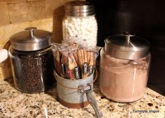 "Winterize your ""beverage station""! Love the jars with hot chocolate and add ins!"