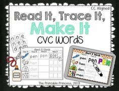 "Great practice for short vowels and CVC words. Includes a magnetic center and a black and white word work copy that students can ""read it, trace it, and make it"". Can use letter stamps, magazines, or the letter cards included in the pack."