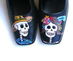 Painted Shoes Day of the Dead Pumps Size 7W. $90.00, via Etsy (they have more colors and styles)