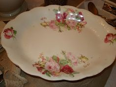 I love antique dishes with pink on them!