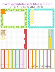 "free 3"" x 4"" journaling cards -- from www.splendidmissm.blogspot.com #ProjectLife"