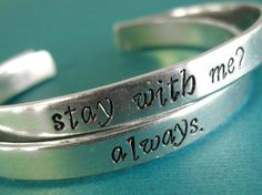 Hand Stamped Geek Jewelry   When Geeks Wed Hunger Games bracelets!!!! Needs!!!!    Would be pretty on wedding bands