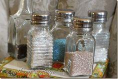 glitter in old salt shakers....love