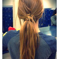 Mini fishtail wrapped around my ponytail:)