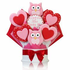 Corso's Cookies Hoo Loves You Valentine Cookie Bouquet - Cool Valentine's Day gift for her... #valentines #gifts #cookies