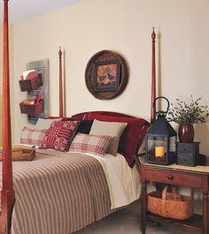 primitive country bedroom.....very cozy looking....