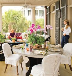 outdoor dining decor, idea, outdoor patios, southern porches, patio decks, hous, back porches, side chairs, front porches