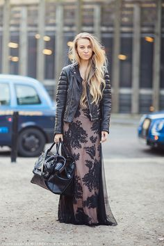 leather jacket + long dress long dresses, maxi dresses, the dress, street styles, street style fashion, leather jackets, romantic dresses, leather bags, lace dresses