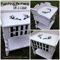 Painted table with Antlers at www.diybeautify.com