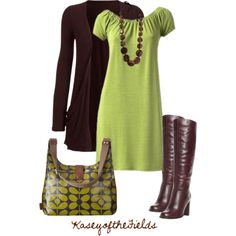 fashion shoe, purs, style, color combos, the dress, fall outfits, brown dress, green dress, work outfit