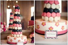 cake, food label, birthday parties, chocolate covered oreos, macaroon tower, french macaroons, first birthdays, macaron tower, parisian parti