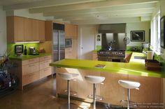 #Kitchen Idea of the Day: Green quartz countertops. Photo by Designer Kitchens LA.
