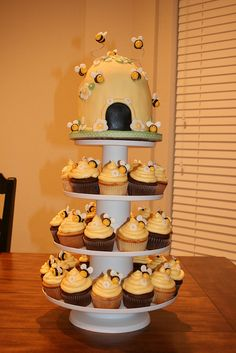 Hive with bee cupcakes
