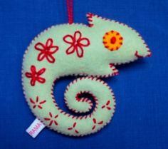 Chameleon Merry Critter - embroidered felt ornament. $22.00, via Etsy.