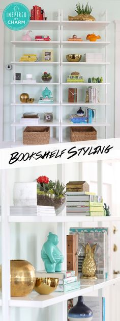 Learn the tips and tricks for easily styling beautiful (and colorful) bookshelves! via @inspiredbycharm