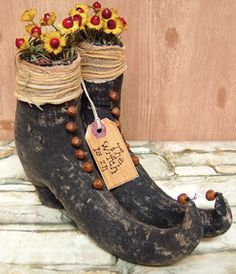 Prim Halloween Stuffed Witch Boots-Prim Witch Boots, Prim Halloween Decor, Prim Halloween, Prim Witch's Boots