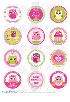 Pink  or Purple Girl Owl Baby Shower Cupcake Toppers or Favor Tags Printables DIY, it's a girl owl tags - ONLY digital file - you print. $3.50, via Etsy.