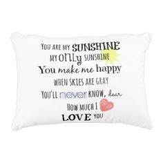 You are my Sunshine Word Art Typography Accent Pillow #quotelife