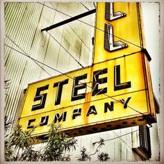steel compani, 11th street, schill steel, neon signs, vintage signs, compani sign, industri squar, squar type, houston place