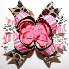 Hot Pink Zebra, Cheetah, and Cow Print MINI Stacked Boutique Hair Bow