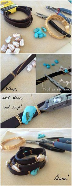 DIY Leather Wrap Around Bracelet