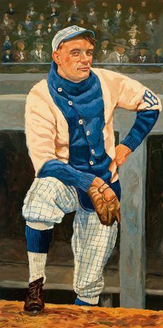 Dick Perez Paintings of Dodger Hall of Famers at Legendary Auctions  - Rube Marquard