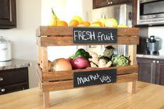 DIY Stackable Fruit Crates tutorial.  Looks like a great space saver if you keep produce on the counter like me.