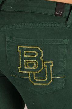 OCJ Apparel | Premium Collegiate Denim | Baylor Bears Skinny Jeans Branded in Hunter | www.ocjapparel.com