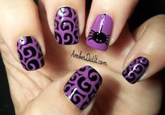 Halloween Spider Nail Design- I love these colors together!!