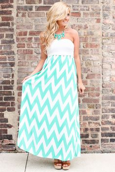 Strapless Chevron Maxi Dress