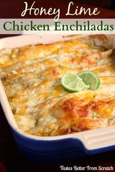 Honey Lime Chicken Enchiladas  | Tastes Better From Scratch #chicken #recipes