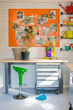 A metal orange pegboard, meant for tools, makes a fantastic magnetic inspiration board for projects.
