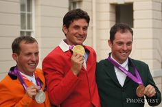 Individual showjumping medalists Steve Geurdat (gold), Gerco Schroder (Silver), Cian O'Connor (Bronze) | ProEquest