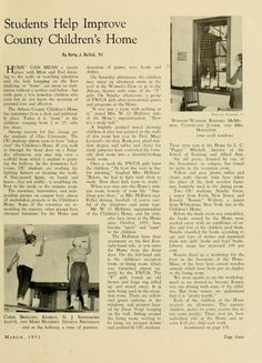 "The Ohio Alumnus, March 1951. ""Students Help Improve County Children's Home."" :: Ohio University Archives"